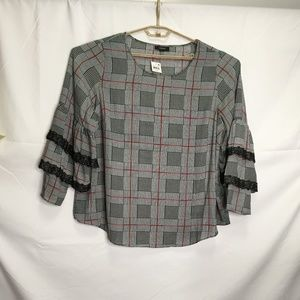 Alfani Plaid Layered Sleeve Top Size 2X H35